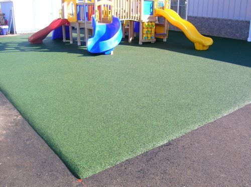 Pour-In-Place- A cohesive playground surface material which is applied under and around swings, slides, monkey bars, and other playground equipment. Pour-In-Place surfaces are designed specifically for aesthetics, child safety, and/or ADA wheelchair accessibility. Check out Noah's Park & Playgrounds for more safety surfacing options!