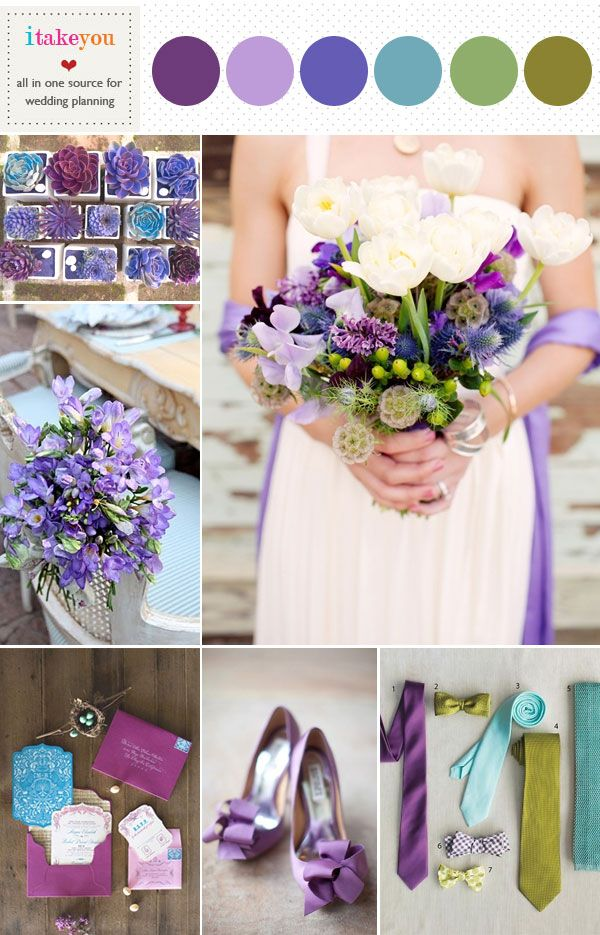 green, lilac,indigo,purple, teal wedding colours palette | shades of purple green blue wedding board | itakeyou.co.uk