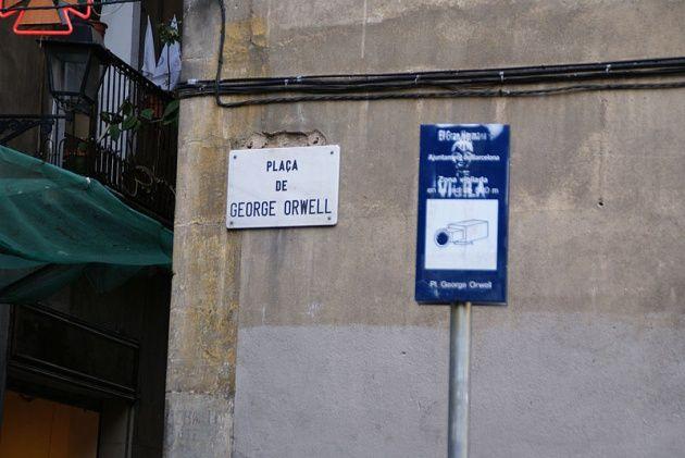 Plaza de George Orwell en Barcelona. Videovigilada