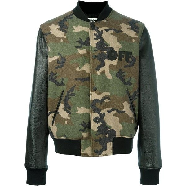 Off-White camouflage print bomber jacket (56,350 THB) ❤ liked on Polyvore featuring men's fashion, men's clothing, men's outerwear, men's jackets, green, mens green leather jacket, mens leather jackets, mens green bomber jacket, mens camouflage bomber jacket and mens camouflage jacket
