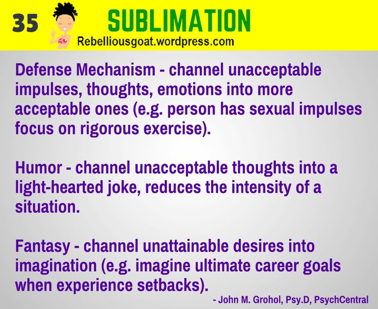 Psychology 35 - Sublimation - Defense Mechanism - channel unacceptable impulses, thoughts, emotions into more acceptable ones.  @RebelliousGoat