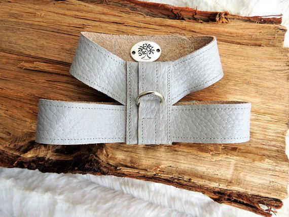 Small Dog Harness Leather Dog Harness Gray Dog Harness