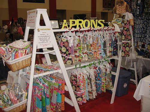two ladders with dowels in between for vertical display space: Ladder, Clothing Display, Booths Ideas, Aprons, Craft Fairs, Crafts Show Display, Crafts Booths Display, Display Ideas, Crafts Fair Display