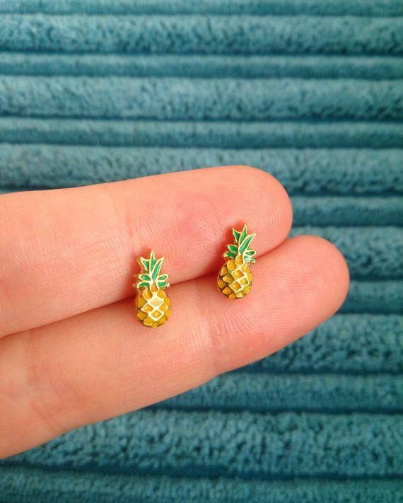 Pineapple earrings handmade tiny enamel by HandcraftLab on Etsy