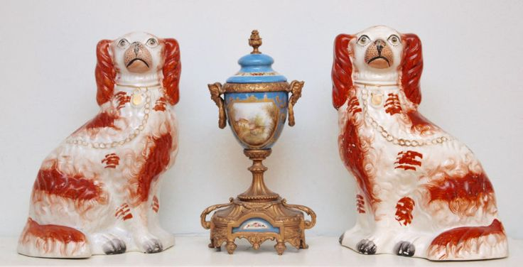 A Charming Pair of Antique c19th Staffordshire Dogs, Russet and White Spaniels