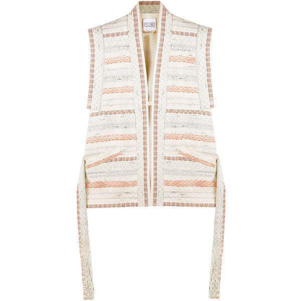 ISAE STUDIO Lena kimono jacket ❤ liked on Polyvore featuring outerwear, jackets, white kimono, white kimono jacket, white jacket and kimono jacket