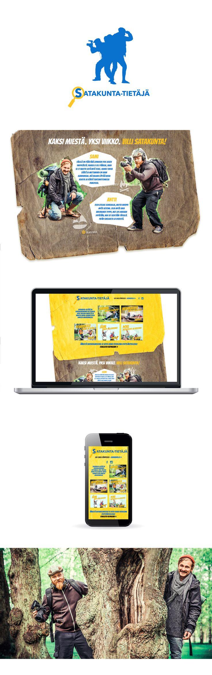 Graafinen suunnittelu, web design, tiedotus, markkinointi, kuvausjärjestelyt: Satakunta-tietäjä lähiseikkailusarja / Satakuntaliitto www.satakunta.fi/satakuntatietaja. Videot: Miaco Cinema Oy, valokuvat: Nelly Stenroos