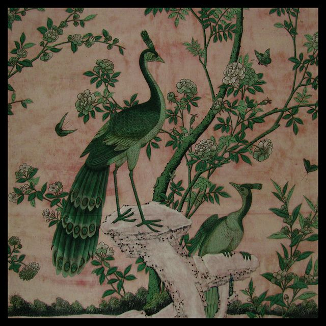 """Hand-painted Chinese silk """"wallpaper"""" , the Badenburg, or Bathing House, Nymphenburg Palace , Munich"""