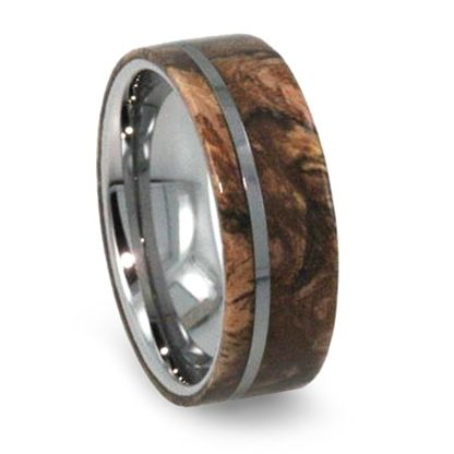 8 mm exotic sindora wood mens wedding bands in tungsten t279m - Exotic Wedding Rings