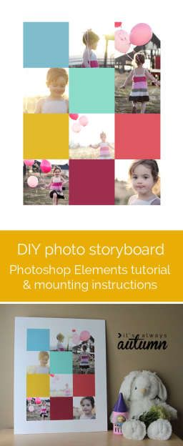 how to create a storyboard photo display in Photoshop Elements & mount on foam…
