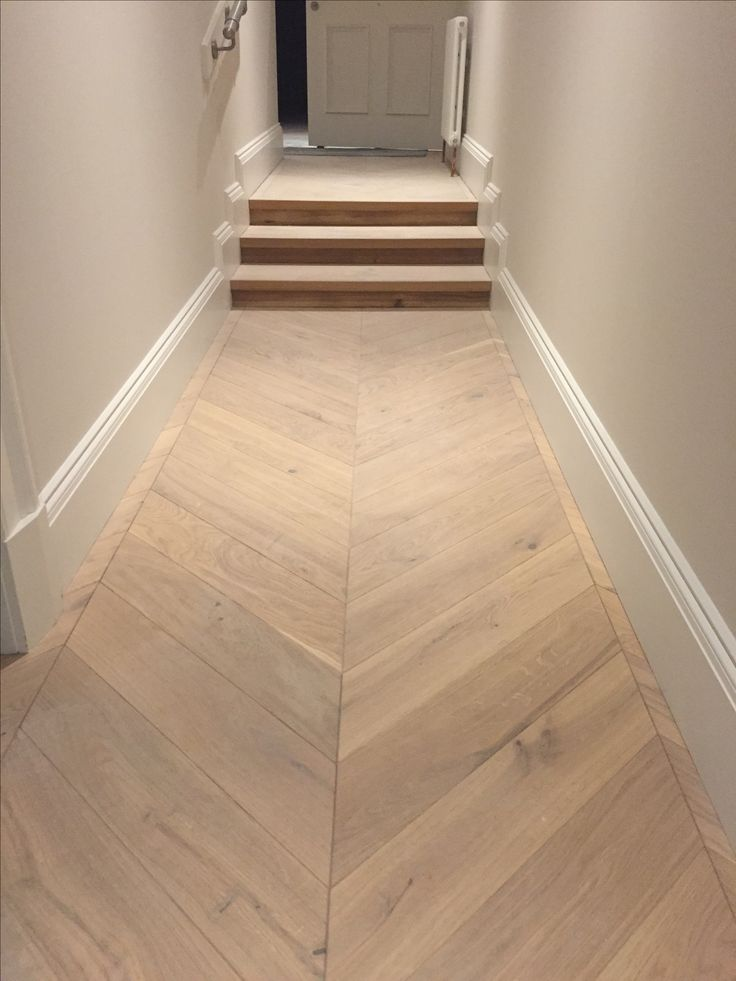 Engineered Oak Chevron Parquet Flooring in hallway, wide plank engineered  wood for steps together with