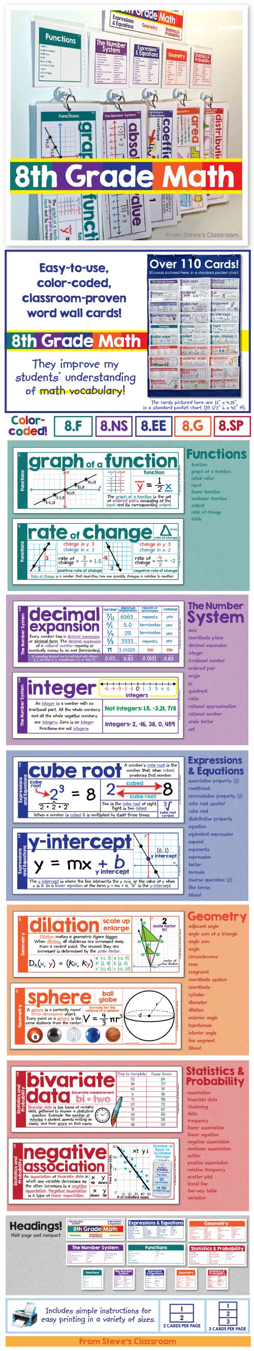 Word wall cards for 8th grade math. Every card has an example to help students grasp eighth grade math concepts like functions, the number system, expressions and equations, geometry, and statistics. The color coding makes it easy to stay organized and identify the different domains. You can even print them smaller and black & white for pasting into interactive journals.