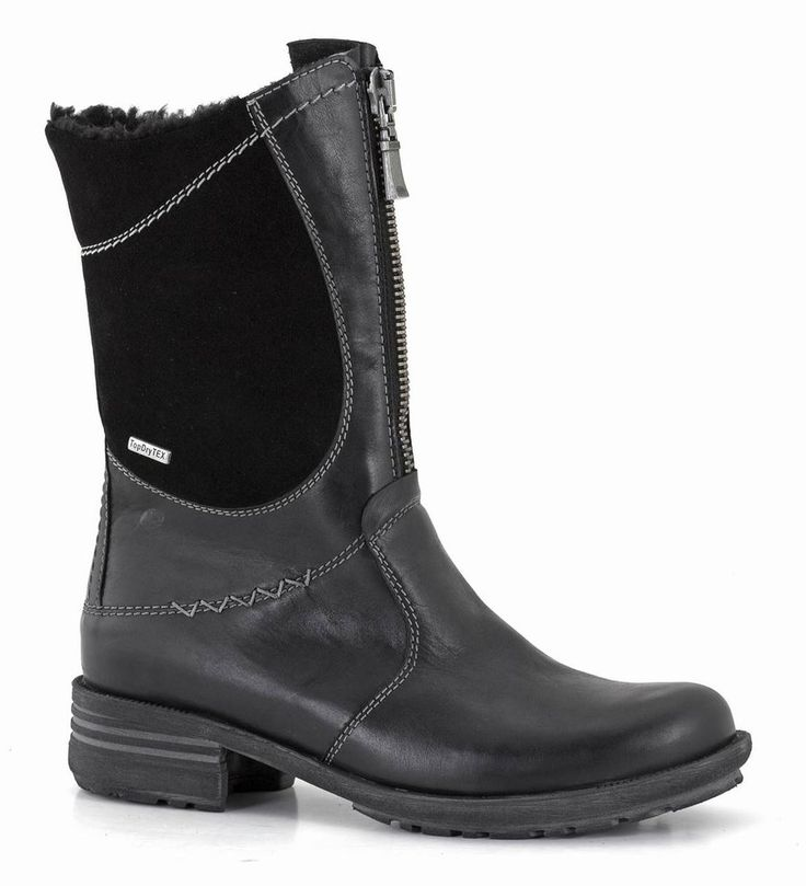 A water and wind resistant mid-calf boot. The front zip design is what does it for me!