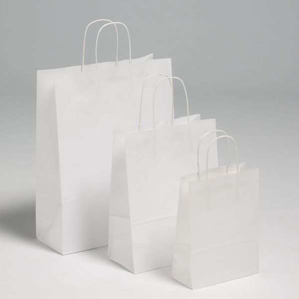 White Premium Paper Carriers with Matching Twist Handles