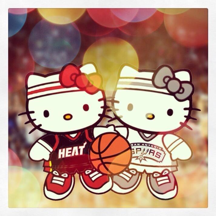 Hello Kitty basket ball miami heat vs. San antonio spurs