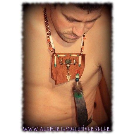 Collier plastron amerindien Cheveyo une création de la boutique ésotérique en ligne Aux Portes de l'Universel