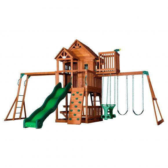 wooden tree house swing play sets with green plastic sliding as well as garden play equipment and best swing sets for toddlers 580x580