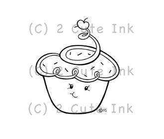 Mini Cupcake 2 Cute Ink Digital Stamp $3.00