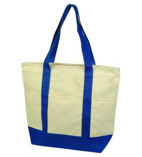 White Colour Jute Shopper Bag with Blue Strap Detail