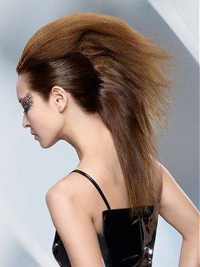 A long brown straight frizzy updo mohecan volume hairstyle by Wella