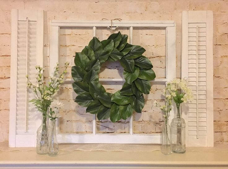 Old Window Frame, Shutters,  Magnolia Wreath, Farmhouse Decor, Grapevine Wreath, Fixer upper decor by myrusticchicboutique on Etsy https://www.etsy.com/listing/515507813/old-window-frame-shutters-magnolia