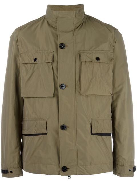 Shop Stone Island high neck jacket.