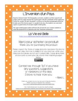 L'invention d'un pays is a creative activity designed for Gr.8 Ontario géographie but would be easily adapted to other curricula or grades.  The students are given co-ordinates of their new country and must design the physical geography, climate and population characteristics by researching those countries nearby.