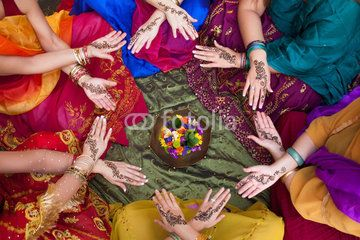 Henna Decorated Hands Arranged in a Circle