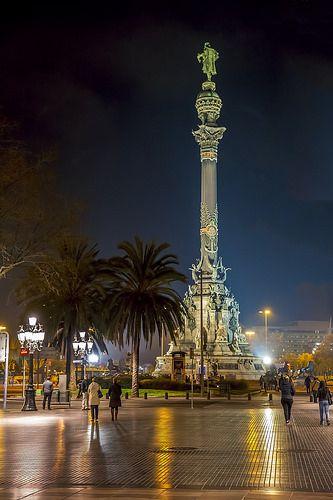 La Rambla at Columbus Statue Barcelona  Catalonia