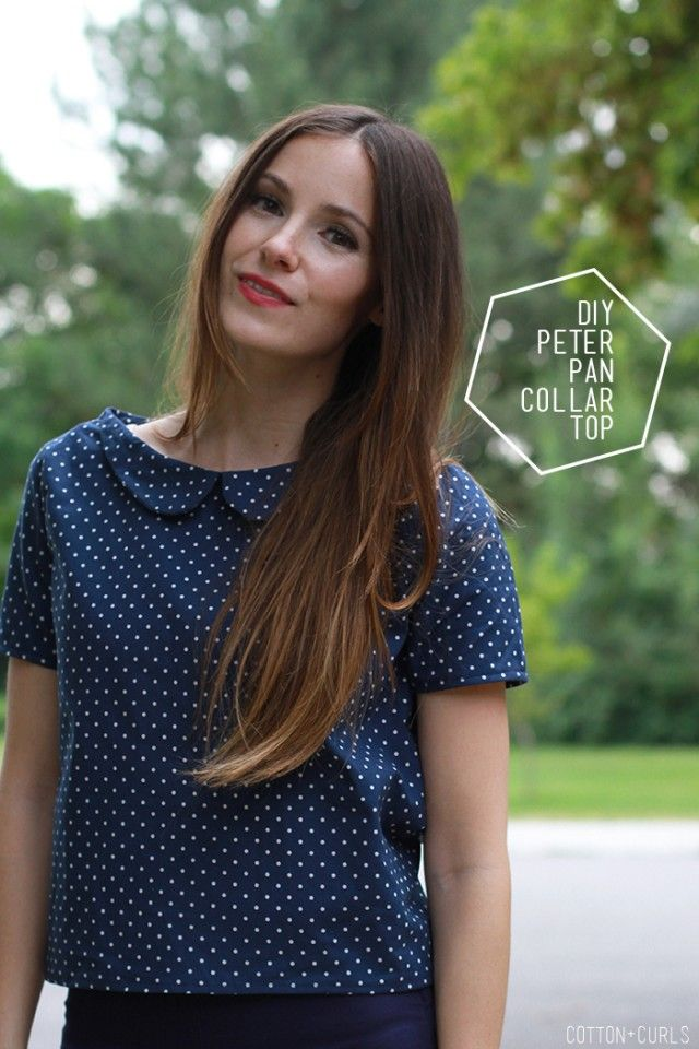 DIY Peter pan collar top with optional zipper or button back