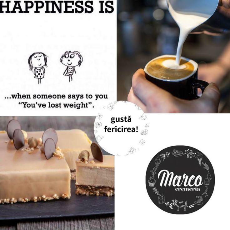 Te întâlnești cu o prietenă care-ți spune că arăți foarte bine și că ai slăbit. Trebuie sărbătorit evenimentul cu o feliuță de tort și cu o cafea cu câteva sfaturi :) Fericire de duminică. #fericire #duminica #cremeriamarco