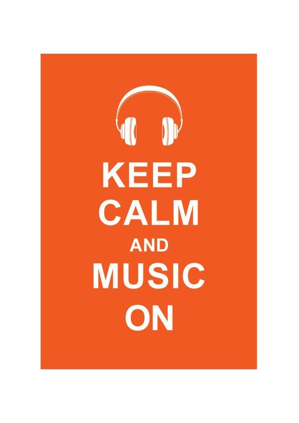 Keep Calm and Music On :  Orange - Wedding Birthday Anniversary Gift Children Decor Kids Room Home Decor Music Art - BUY 2 Get 1 Free. $10.80, via Etsy.