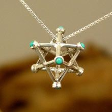 Inlaid Merkaba Pendant Silver Medium - A Powerful Symbol of Healing and Protection Jewel's Intention: Live a healthy, connected, loving, and balanced life. Size: 1.5cm/1.5cm - 0.6Inch/0.6Inch: Solid Sterling Silver 925 Price: $119 Choice of stone may be additional cost at point of order. Simply click on the image to order.
