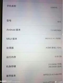 Bocoran Screenshot terbaru mengungkapkan RAM dan Memori internal yang di pakai oleh Xiaomi Mi6