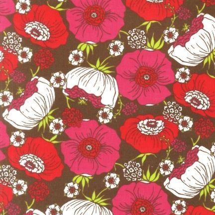 Robert Kaufman - Cool Cords - Flowers - Brown : Sew Modern