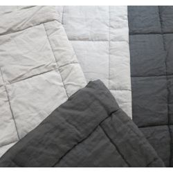 Pure linen Queen/King quilt by Bemboka - charcoal