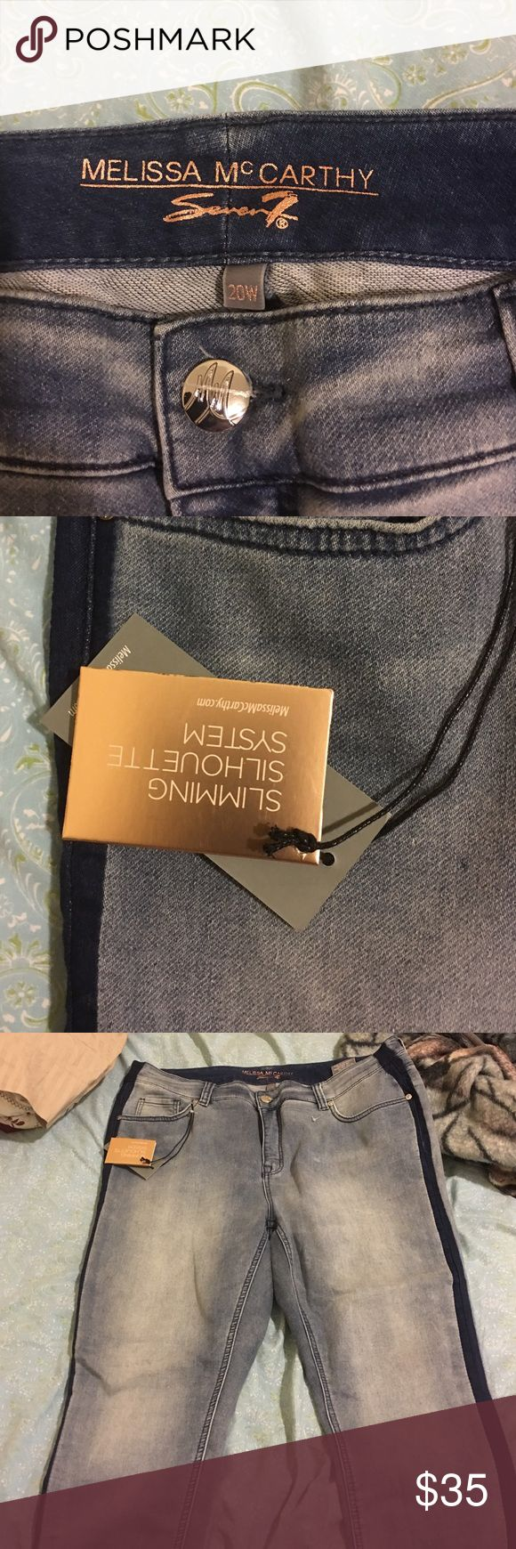 Blue jeans Melissa mc carthy jeans brand new very cute with navy blue line in the side !!! Melissa McCarthy Jeans Skinny