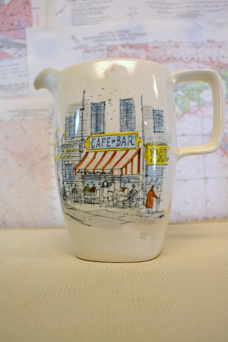 "1950s Midwinter ""Riviera"" Pitcher with Illustrations by Hugh Casson by BlackbirdAntiquesNC on Etsy"