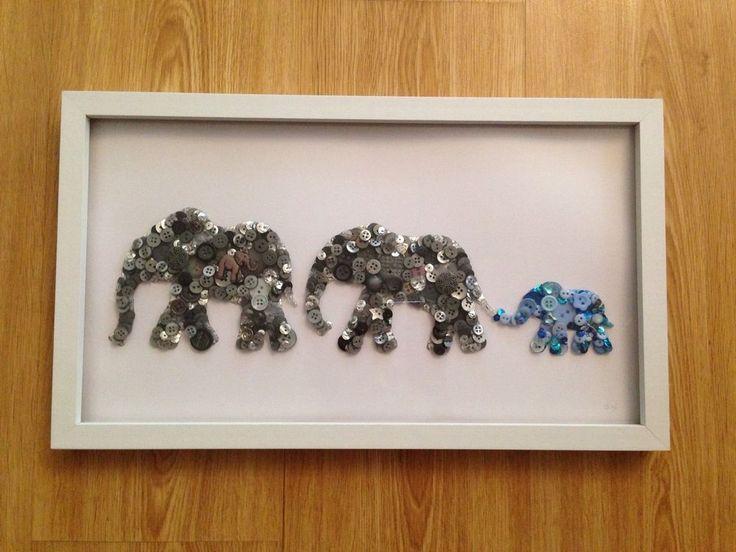 "Handmade Elephant Button Art 17""x9"" Boxed Frame, Wedding/birthday Gift"