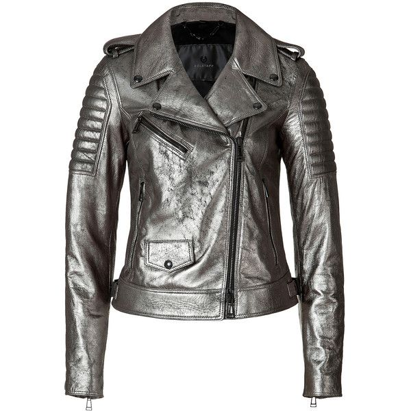 Belstaff - Metallic Leather Portington Moto Perfecto Jacket (2.410 BRL) ❤ liked on Polyvore featuring outerwear, jackets, coats, belstaff, coats & jackets, silver, leather jackets, women, biker jacket and slim fit leather jacket