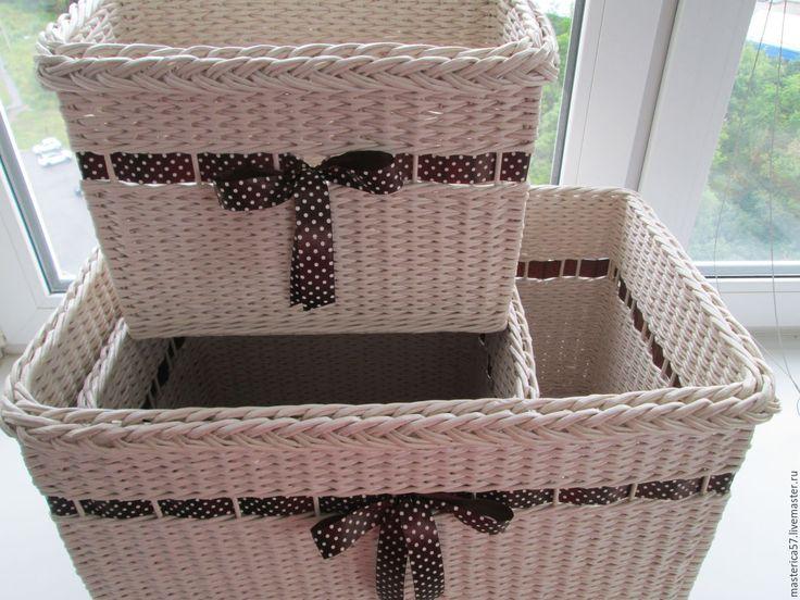Купить Плетеный короб - бежевый, короб плетеный, корзина, для хранения, плетение из бумажной лозы, Мебель