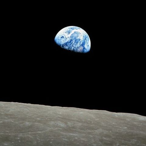 #Earthrise photo taken by astronaut William Anders on #Apollo8. This first brilliantly blue view of Earth from its neighbor is credited with greatly influencing the modern environmental movement.