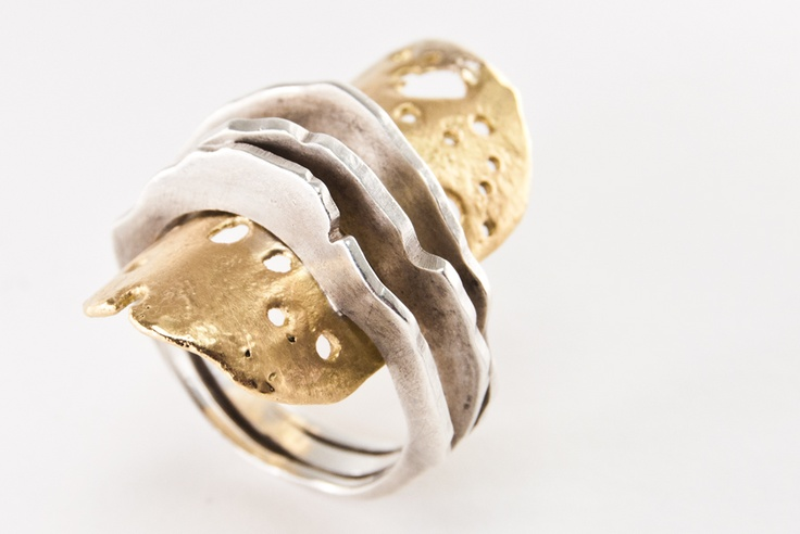 io Ring  Silver and gold recuperated