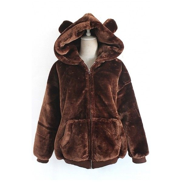 Adorable Plain Bear Ears Zippered Hooded Faux Fur Winter Coat with... (€41) ❤ liked on Polyvore featuring outerwear, coats, bear coat, faux fur coat, zipper coat, hooded coat and faux coat