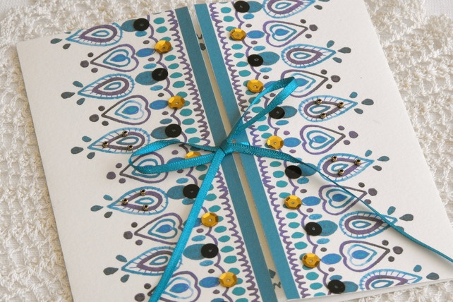 Indian Jewel Wedding Invitation, with lined envelope and RSVP card, SAMPLE PACK £3.60
