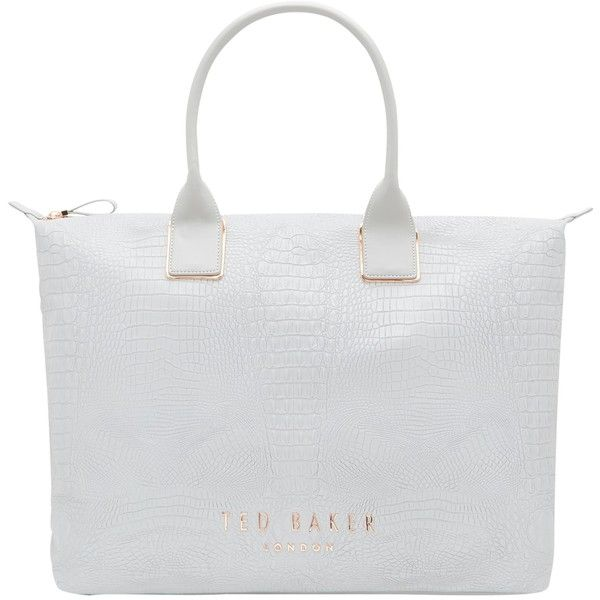 Ted Baker Remaa Text Large Leather Tote Bag ($170) ❤ liked on Polyvore featuring bags, handbags, tote bags, leather tote bags, leather travel tote, faux leather tote, zippered leather tote and hand bags