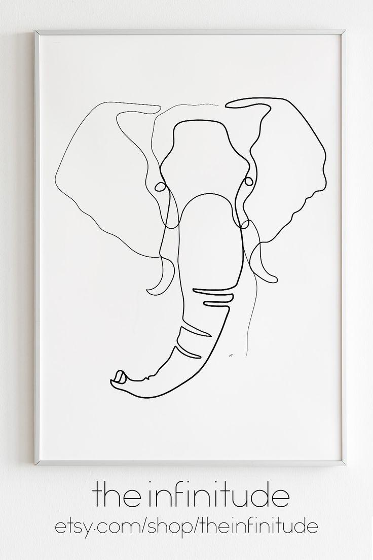 Minimalist Elephant Drawing: Line Art Print Elephant Minimalist One Line Drawing Living