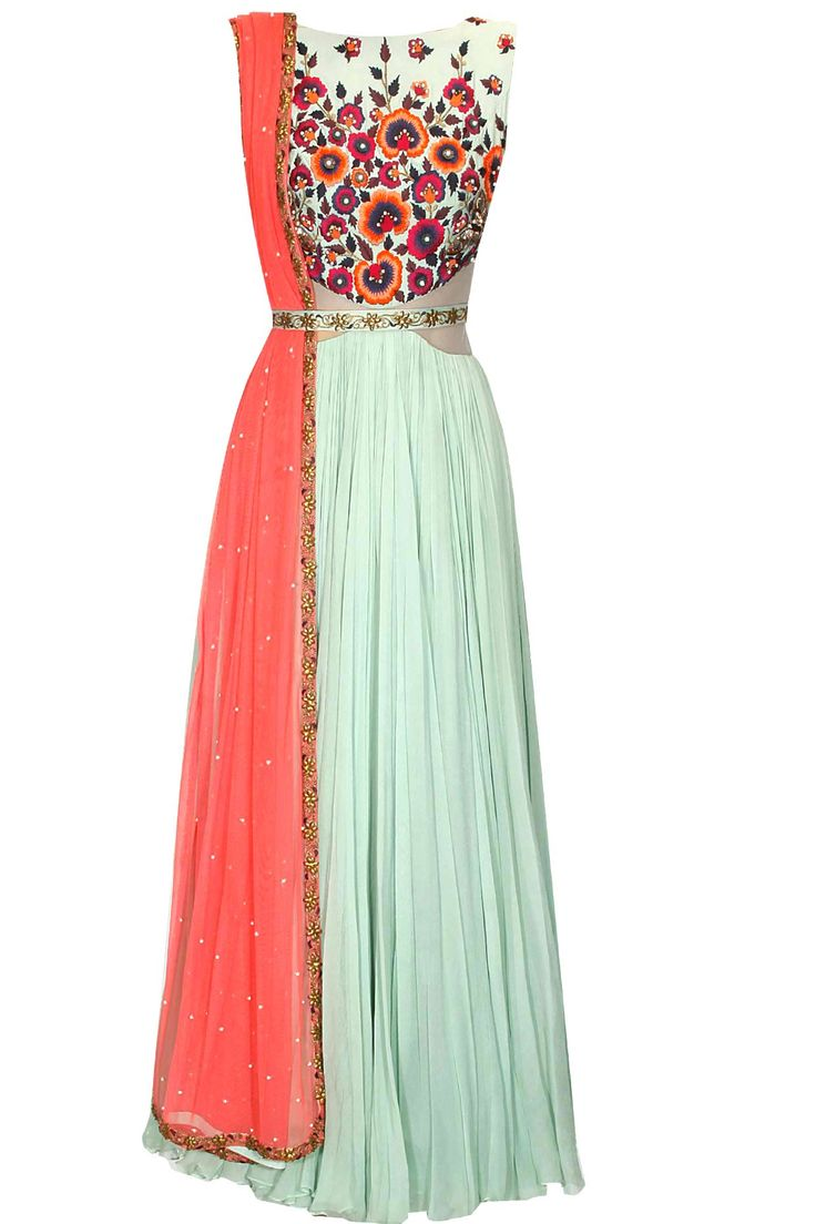 Mint green floral embroidered cutout anarkali suit available only at Pernia's Pop Up Shop. #perniaspopupshop #clothing #shopnow #medhabatra #festive #newcollection #designer