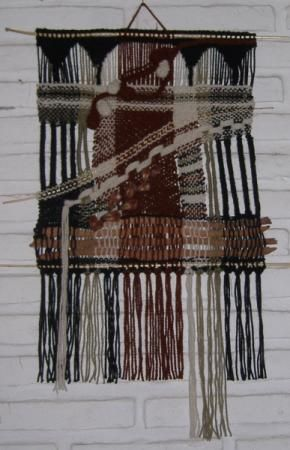 tapiz tejido íntegramente en telar tapiz en telar lana de oveja,cortezas de eucaliptus,semillas tejido en telar-bastidor