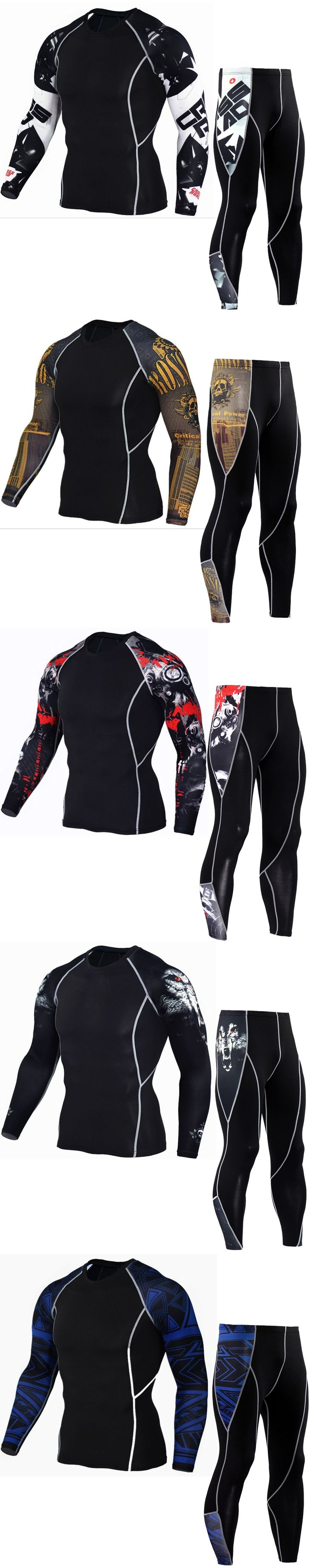 Men's Compression Suits Clothes 3D print Set Long t shirt And Pants Fitness workout Tights clothing 2pcs/Sets dropshipping